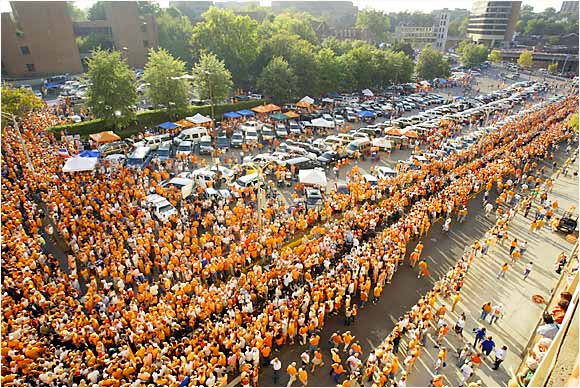 Fans lined up outside of Neyland Stadium to await the start of Saturday afternoon's match-up between Tennessee and Florida.