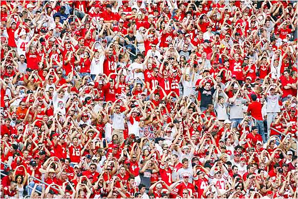 Ohio State Buckeyes fans cheered out the O in O-H-I-O as their team battled the Cincinnati Bearcats at Ohio Stadium. The Buckeyes won 37-7