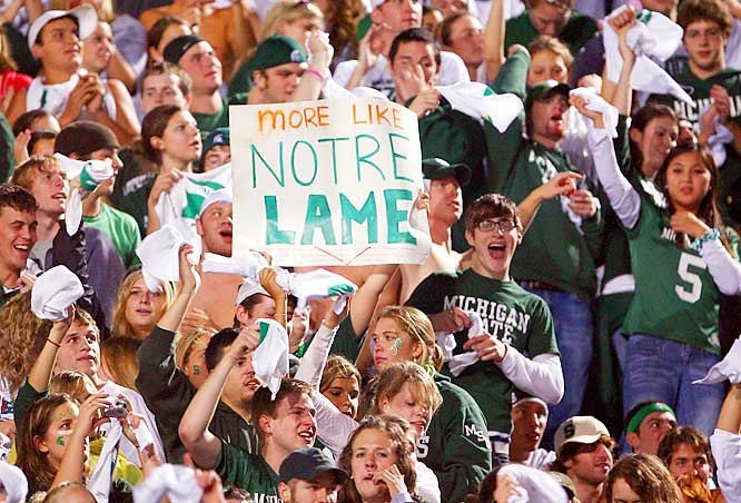 Turned out that this sign was lame, as the Fighting Irish scored 19 unanswered points in the fourth quarter and sank the Spartans, 40-37, Saturday night in East Lansing.