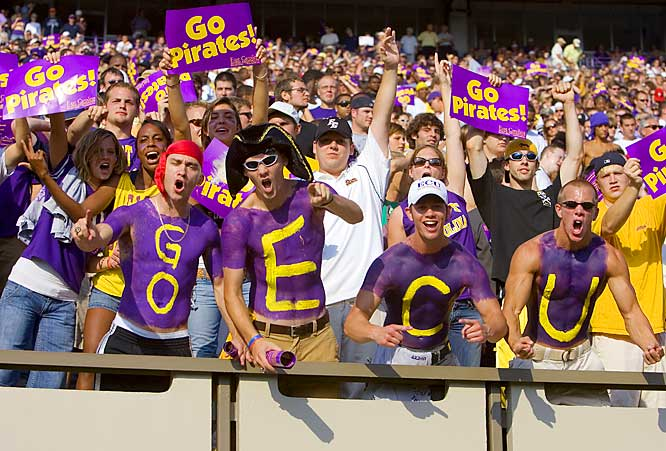 The Pirates' 27-10 loss to No. 4 West Virginia didn't dampen the spirit of these East Carolina fans during Saturday's game at Dowdy-Ficklen Stadium in Greenville, NC.