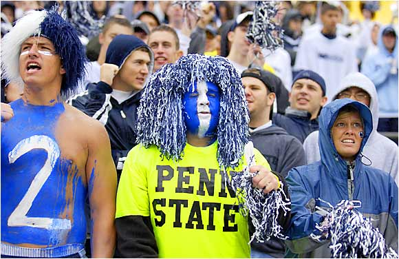 This Penn State fan eschewed the traditional Nittany Lions blue and white in favor of neon green during No. 19 PSU's 36-14 victory over Akron.