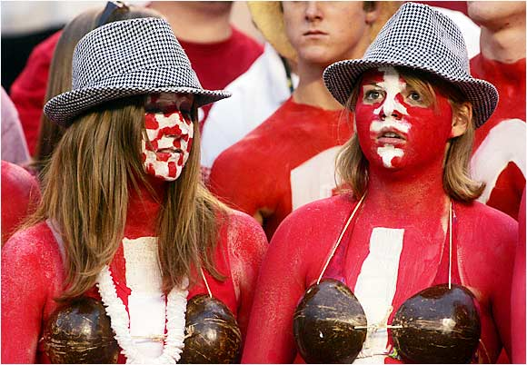 These two women were not afraid of a little red body paint, as evidenced by their outfits during Alabama's win over Hawaii on Saturday.