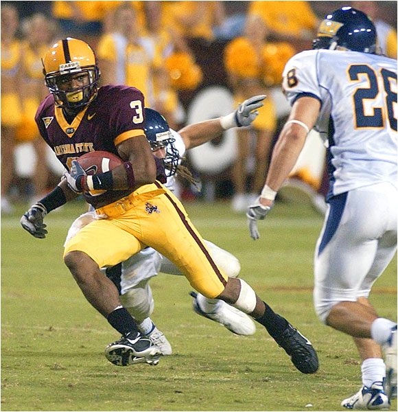 Rudy Burgess (3) had seven receptions for 112 yards for the Sun Devils.