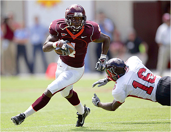Eddie Royal caught two balls for eight yards in the Hokies' win before spraining his right toe on a reverse.