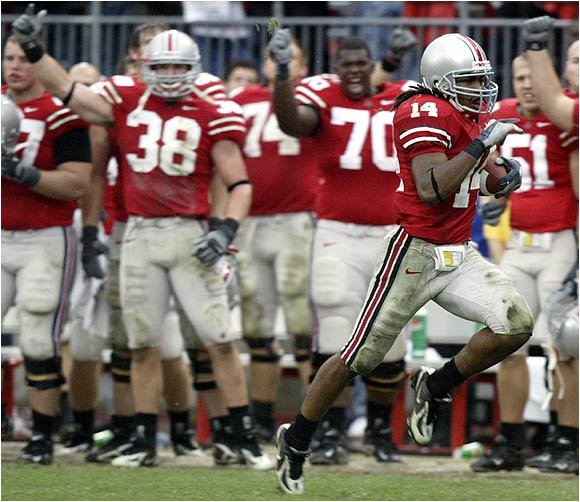 No one was going to catch Buckeyes cornerback Antonio Smith during this 55-yard interception return in the fourth quarter.