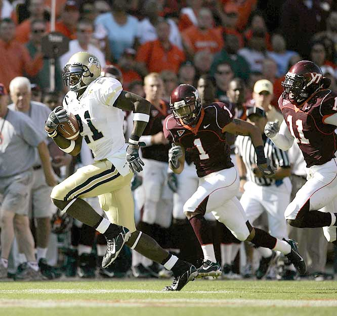 Calvin Johnson (right) had 115 receiving yards, including touchdown receptions of 53 and three yards as the Yellow Jackets avenged a 51-7 loss to the Hokies in '05.