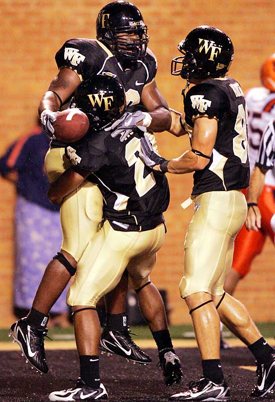 After going 4-7 last season, the Deacs lost their starting quarterback, Ben Mauk, for the season (broken arm) in Week 1. Then they lost starting running back Micah Andrews (knee) in Week 3. But last week they went on the road and stomped Ole Miss 27-3, improving their record to 4-0 (with each win coming against a BCS conference team).