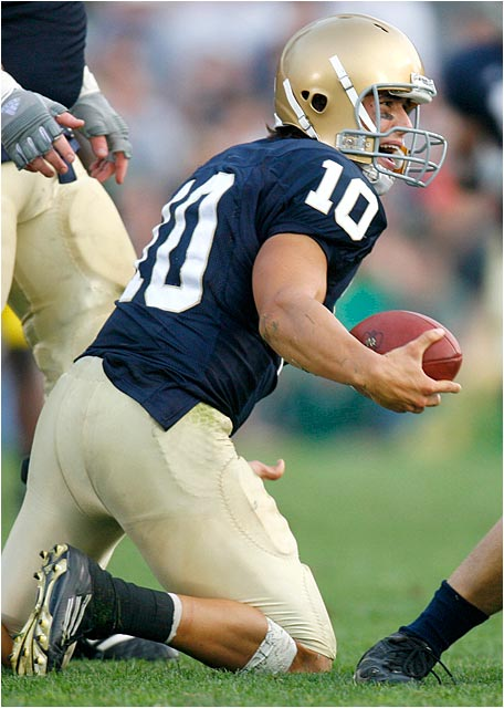 Notre Dame quarterback Brady Quinn, who was intercepted three times and lost a fumble, after being sacked.