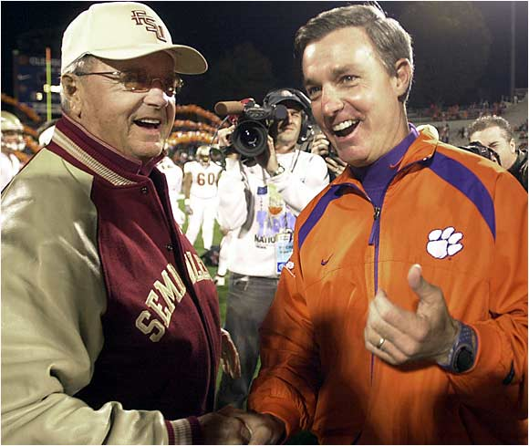 Bobby Bowden is 5-2 against his son, Clemson coach Tommy Bowden, but Tommy has taken two of the last three, including last season's 35-14 rout in Death Valley. Florida State enters this year's edition as a five-point favorite, as the Tigers haven't won in Tallahassee since 1989.