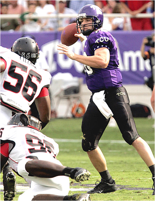 Jeff Ballard was 13-of-23 for only 101 yards but ran nine times for 66 yards, improving to 11-0 in his starts at TCU.