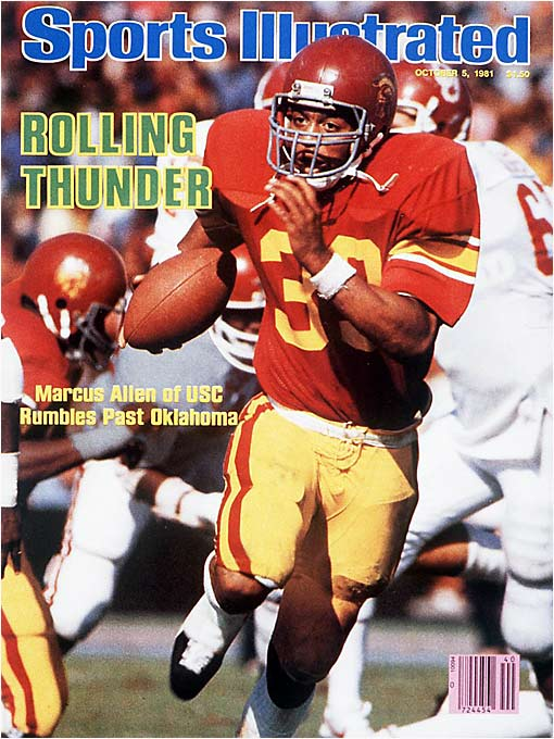 ( Editor's Note: A look at the last 10 No. 1 vs. No. 2 regular-season matchups. )  The Sooners fumbled the ball 10 times, losing five, but still held a 24-14 lead in the fourth quarter. Then USC tailback Marcus Allen, who finished with 208 yards, scored his second TD to get the Trojans within three. USC quarterback John Mazur led a miraculous drive to get the Trojans into field goal range, but USC coach John Robinson had no interest in a tie. On third-and-goal from the seven, Mazur scrambled before finding Fred Cornwell for the game-winning score with two seconds left.