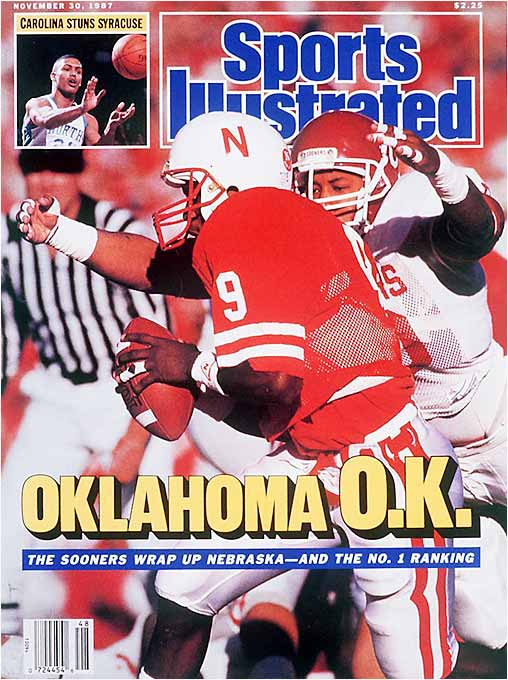 "The ""Game of the Century II"" didn't provide the drama of its predecessor. Nebraska's offense -- the top unit in the country -- scored an early touchdown, but Oklahoma's defense locked down for the rest of the game, holding the Cornhuskers 289 yards below their season average. Barry Switzer's team had three 100-yard rushers, including freshman QB Charles Thompson, who went on to grace the cover of SI after being arrested for selling cocaine."
