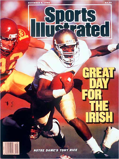 "The Irish struck early and often in this game. Tony Rice connected with ""Rocket"" Ismail for a 55-yard touchdown to start off the game. Then Rice kept the ball on an option play and scampered 65 yards down the sideline to give Notre Dame a 14-0 lead. Stan Smagala intercepted a Rodney Peete pass and took it 64 yards to the house, giving the Irish a comfortable 21-7 lead at the half. USC never really threatened after the break. Notre Dame went on to win its first national title in 11 years."
