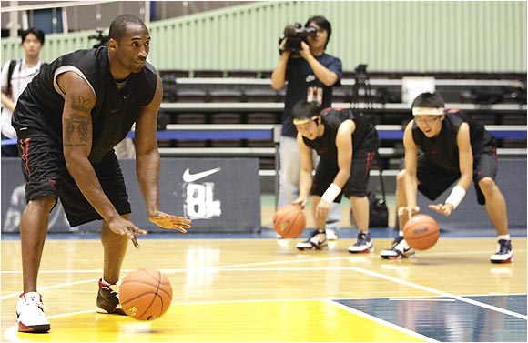 "It's all about the fundamentals, as Kobe teaches these South Korea students how to improve their dribbling skills. ""It's not about where you're from,"" Kobe said during his trip. ""It's about your practice and effort."""