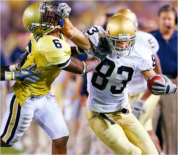 Notre Dame receiver Jeff Samardzija and the rest of the Fighting Irish fought their way back from a first-half deficit to defeat Georgia Tech 14-10 in Atlanta.