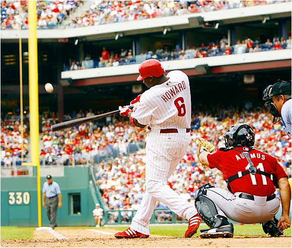 The Phillies' Ryan Howard had 54 homers as of Sept. 7, only six shy of becoming the sixth player in major league history to hit 60 in a season. At 24, he would be the youngest to reach the milestone.