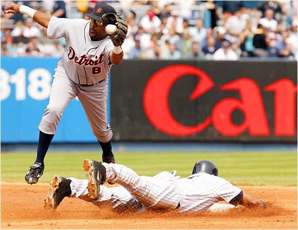 Alex Rodriguez steals second base ahead of the throw to Tigers shortstop Neifi Perez in the third inning of the Yankees' 6-4 win at Yankee Stadium on Aug. 31. A-Rod broke out of a hideous slump by going 9-for-24 with five homers and 11 RBIs during New York's homestand last week.