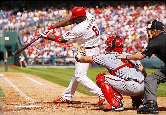 Ryan Howard hammered a homer in his first three at-bats in the first game of a doubleheader against the Braves at Citizens Bank Park in Philadelphia on Sunday.  Howard leads the majors with 52 taters, the most ever by a second-year player in major league history.
