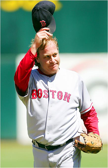 Curt Schilling of the Red Sox tips his cap to the crowd at Oakland's McAfee Coliseum after recording his 3000th career strikeout on August 30. Schilling's milestone K came in the first inning against the A's Nick Swisher, making the Red Sox righthander the 14th pitcher in the major league history to reach 3000 strikeouts.