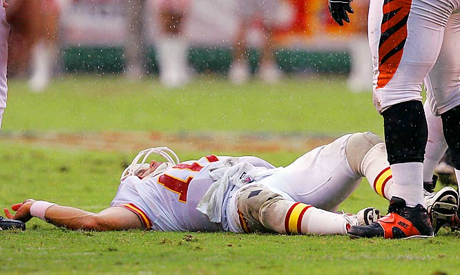 The Chiefs' starting quarterback suffered a severe concussion on Sept. 10 when he had his head snapped back on a tackle by Cincinnati's Robert Geathers while making a feet-first slide at the end of a run.