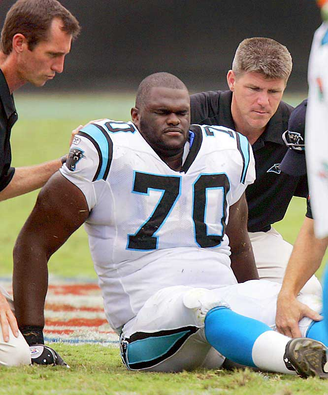 The starting left tackle, who had appeared in 28 consecutive regular-season games for the Panthers, was lost for the season when he tore two ligaments in his left knee in a Sept. 10 game against Atlanta.