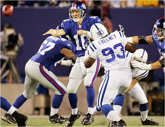 Eli Manning passed for two touchdowns and was 20 of 34 for 247 yards in the loss to his big brother's team.