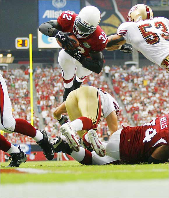 Cardinals running back Edgerrin James rushed for 73 yards, including a one-yard touchdown run, contributing to Arizona's 34-27 season-opening win at home over the 49ers. The Cardinals scored three first-quarter touchdowns for the first time in more than 30 years.
