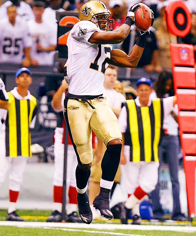 Last week: No. 6 <br><br>When you watch Colston play, it's hard to figure how he lasted until the sixth round, other than the fact that he went to Hofstra. He caught seven balls for 97 yards last Monday night against the Falcons and is already an expert at using his 6-foot-4 frame to box out smaller defenders.