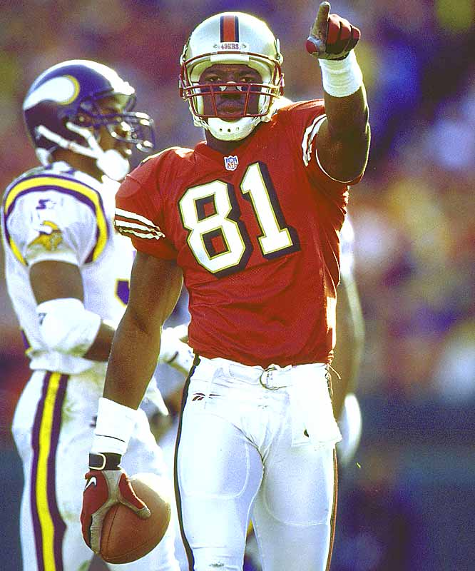 When Jerry Rice went down with an ACL injury, Owens became the No. 1 receiver, totaling 60 receptions for 936 yards and eight touchdowns.