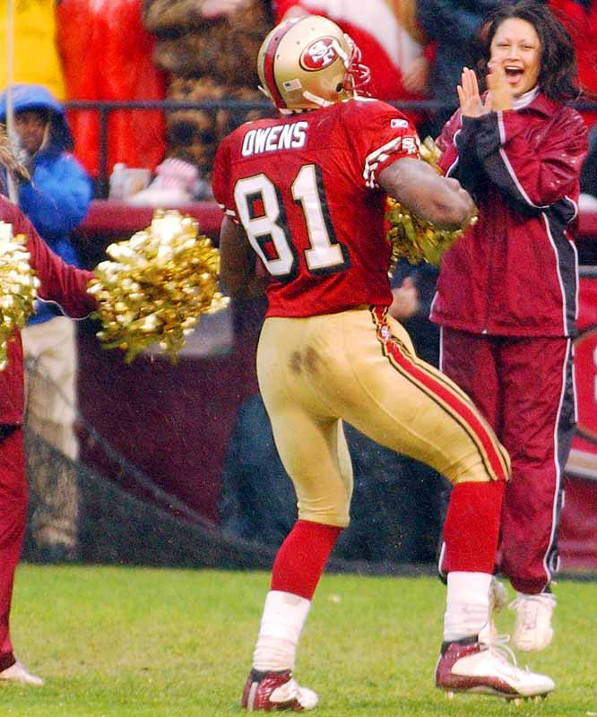 On Dec. 15, Owens celebrated a touchdown against the Packers by taking a pair of pom-poms from a 49ers cheerleader.