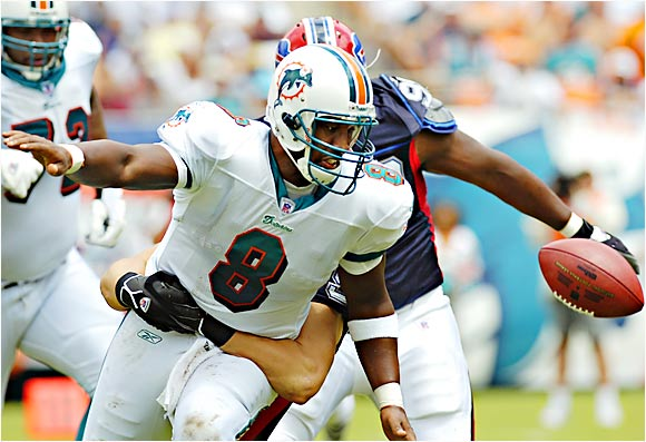Dolphins quarterback Daunte Culpepper fumbled the ball on a sack by Bills defensive end Ryan Denney during Miami's opening drive in the first quarter. Buffalo won the game at Dolphin Stadium 16-6.