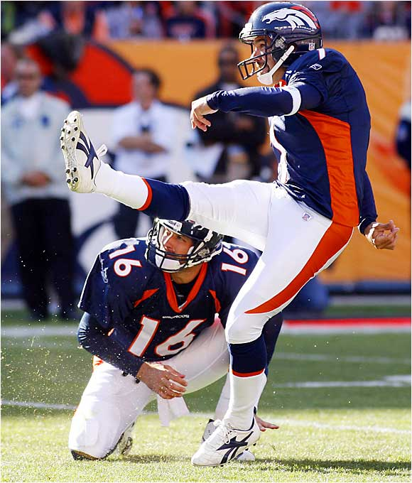 Broncos kicker Jason Elam successfully booted three of four field goals, including a 39-yard game-winner in overtime, to beat the Chiefs 9-6 in Denver on Sunday. Broncos quarterback Jake Plummer has thrown four interceptions and no touchdown passes in the team's first two games.