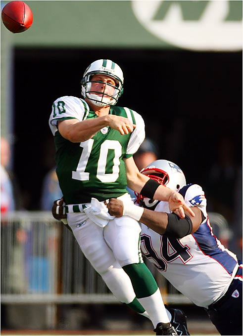 Despite another solid performance from quarterback Chad Pennington, the Jets failed to storm back entirely from a 24-0 deficit midway through the third quarter, falling 24-17 to the Patriots on Sunday.