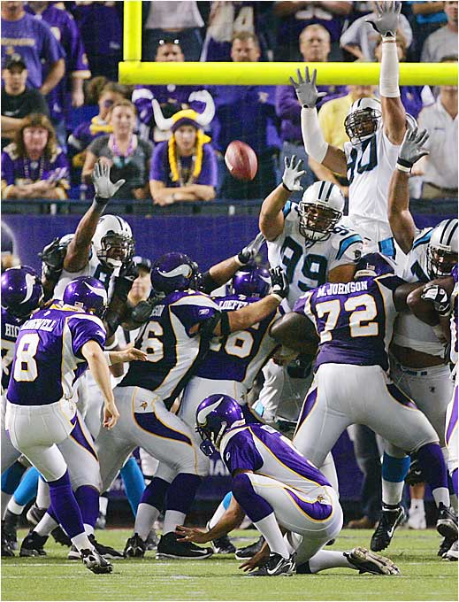 Minnesota Vikings kicker Ryan Longwell kicks a 19-yard game-winning field goal to beat the Panthers 16-13 in OT.