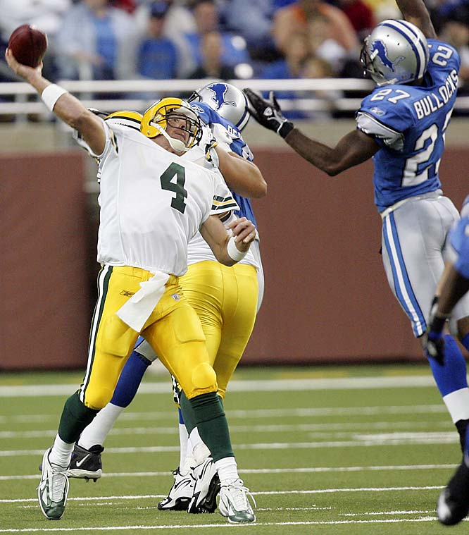 Number: 300 <br><br>In his 243rd and 244th career starts, Brett Favre, for the first time in his NFL career, passed for 300 or more yards with three or more touchdowns in consecutive games, passing for 340 yards in both games. The last QB with consecutive games of 340 or more yards, three or more TDs and one or fewer interceptions was Billy Volek of the Titans in 2004.