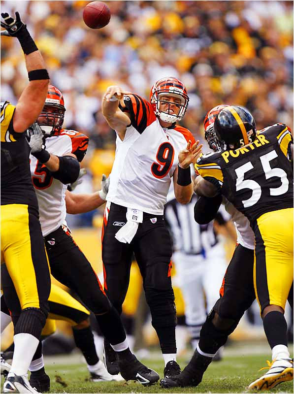 Despite three fumbles and two interceptions, Bengals quarterback Carson Palmer still led his team to a 28-20 victory over the Steelers by throwing four touchdown passes.