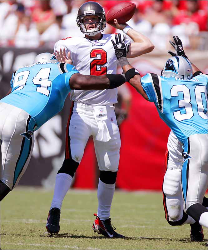 Bucs quarterback Chris Simms connected with Joey Galloway in the second quarter for Tampa's first touchdown of the season. After receiving several hard hits in the game, a battered Simms had his spleen removed Sunday night and is out indefinitely.