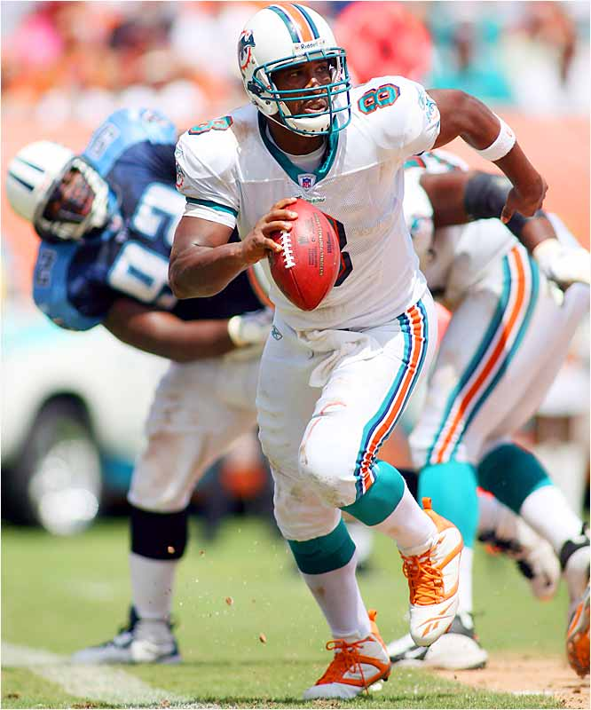 Dolphins quarterback Daunte Culpepper scored the team's only touchdown against the Titans, not with a pass but on a five-yard run in the third quarter, leading Miami to its first victory of the season, 13-10.