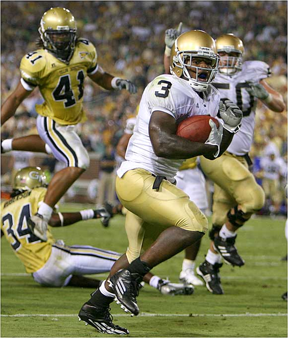 Fighting Irish running back Darius Walker had 104 yards on 22 carries and the touchdown that gave Notre Dame the lead in the third quarter.