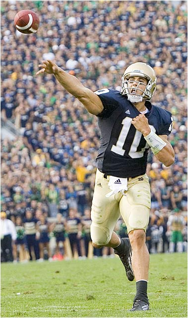 Notre Dame quarterback Brady Quinn completed 25 of 36 attempts for 287 yards and three touchdowns.