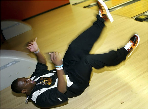 Dwyane Wade, shown here at a charity bowling event, was more surprised by throwing a strike than winning the NBA title.
