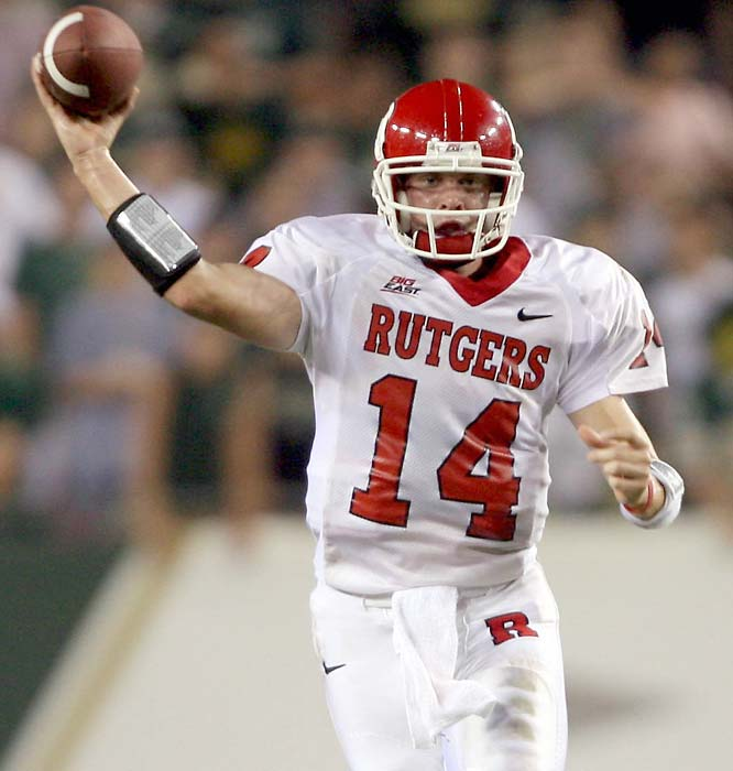 Quarterback Mike Teel and Rutgers survived a big scare at South Florida and are 5-0 for the first time since 1976. The Scarlet Knights will be challenged by Navy, and heavyweights Louisville and West Virginia await. Still, Rutgers is on its way to a second straight bowl game. <br>Next test: at Navy, Oct. 14