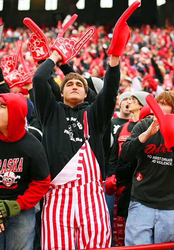 The support of this fan, and his red striped overalls, weren't enough for the Cornhuskers as Nebraska fell to Texas, 22-20, at Memorial Stadium.