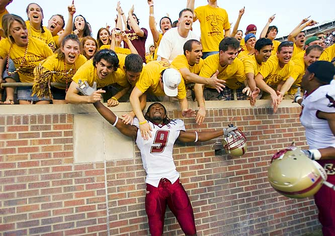 "BC cornerback Larry Anam celebrated the Eagles' 24-19 victory over FSU during a ""black-out"" at Doak Campbell Stadium on Saturday."