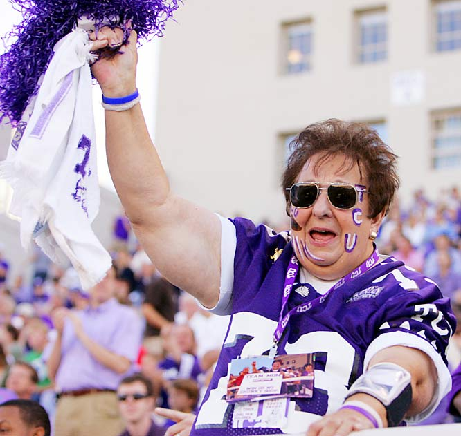 This TCU fan went home unhappy as the Horned Frogs were flattened by BYU, 31-17.