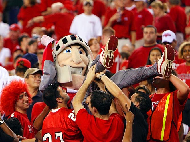 Even Rutgers mascot Scarlet Knight got in on the celebration after Rutgers' 22-20 victory over South Florida.