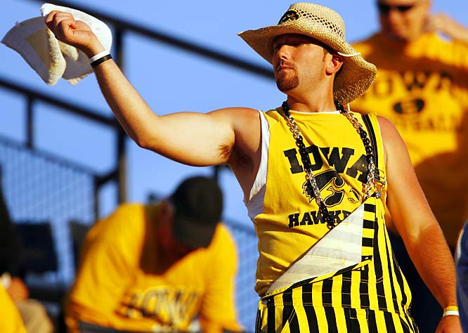 Even the support of this fan and his yellow-striped overalls wasn't enough to lift Iowa past Ohio State on Saturday.