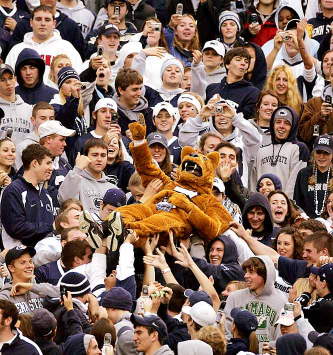 Penn State fans passed the Nittany Lion mascot from the low to the high rows of Beaver Stadium during Penn State's 33-7 victory over Northwestern.