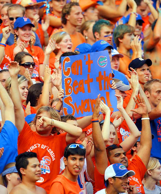 "These Florida fans hoped their ""Can't Beat The Swamp"" sign would earn them some face time on CBS' telecast of Saturday's game."