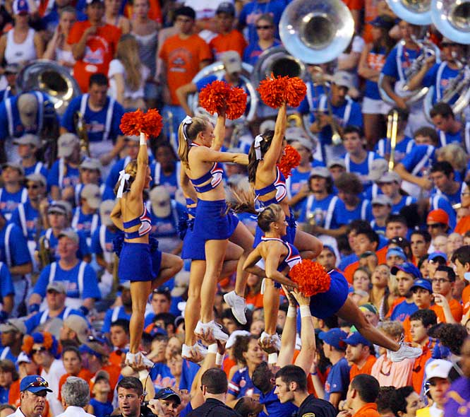 The game got a little better for these fans, as the Florida cheerleaders got right into the crowd to cheer on their Gators.